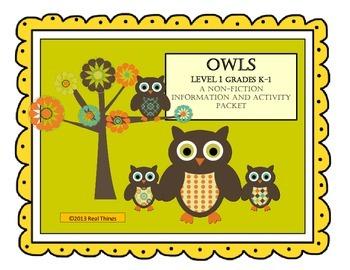 Owls- A Non-Fiction Activity Pack for Grades K-1