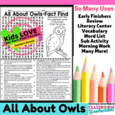 Owls: All About Owls Reading and Word Search Activity