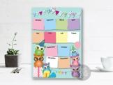 Owls Birthday Calendar Poster