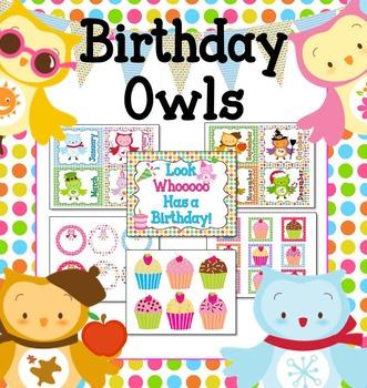 Seasonal Owls and Polka Dots Birthday Mini-Bulletin Board Set (Editable)