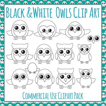 Owls Black and White Line Art Clip Art Pack for Commercial Use