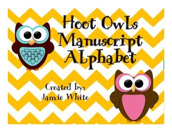 Owls Capital Letter Manuscript Alphabet