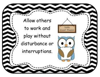 Owls Classroom Rules Chevron