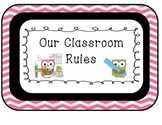 Owls Classroom Rules Chevron