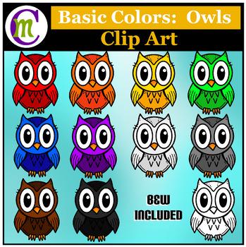 Owls Clip Art ♦ Basic Colors