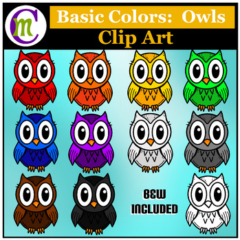 Owls Clip Art ♦ Basic Colors