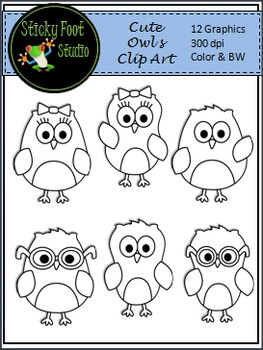 Owls Clip Art - Color & Black and White
