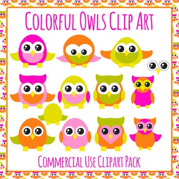 Owls Clip Art Set for Commercial Use