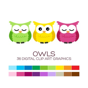 Owls Clipart - 36 digital owls / 3x3 inches - A00043