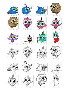 Owls Clipart - Everyday & Holidays (Assorted Colors Pack)