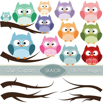 Owls Clipart Branches Clipart Digital Birds Trees Scrapbooking Printable