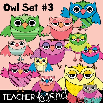 Owls Clipart Set #3 (Check out the BUNDLE below)