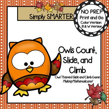 Owls Count, Slide, and Climb:  NO PREP Counting Slide and Climb Game