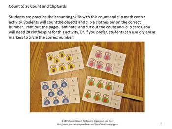 Owls Task Cards Count and Clip, Kindergarten Math, Special Education Math