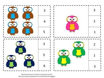 Owls Math Center Task Cards Count Clip Kindergarten Special Education Fine Motor