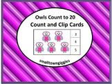 Owls Math Center Task Cards Count Clip Kindergarten Specia