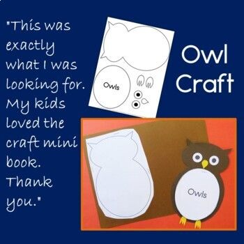 Owls Craftivity and Guided Reading Book - no prep!