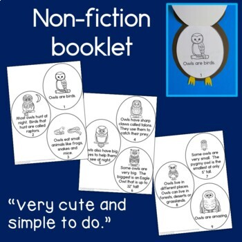 Owls Reading: Craft and Book NO PREP
