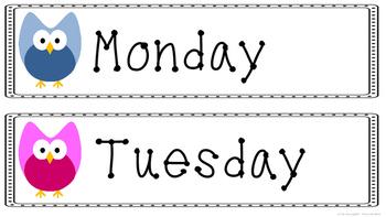 Days of the Week Word Wall Headings, Calendar, Owl theme