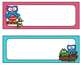 Owls Desk Name Tags...Editable