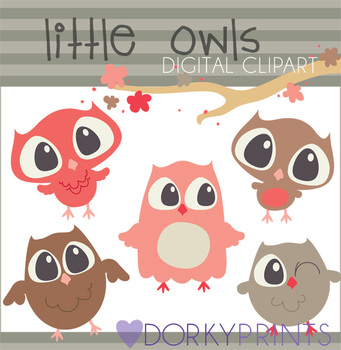Owls Digital Clip Art Images in Coral and Tan