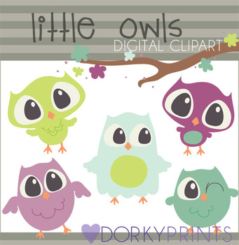 Owls Digital Clip Art Images in Purple and Green