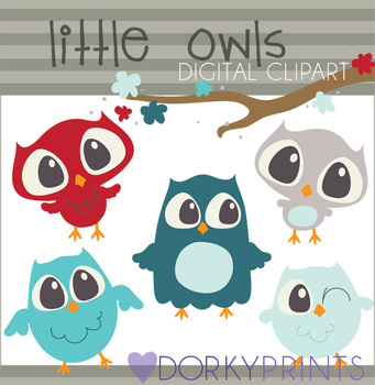 Owls Digital Clip Art Images in Red and Blue