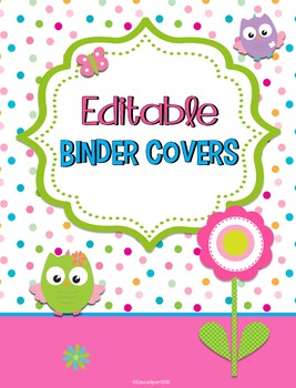 Owls Editable Binder Covers