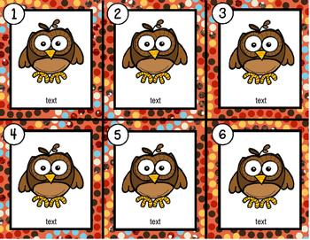 Owls~ Editable Write the Room