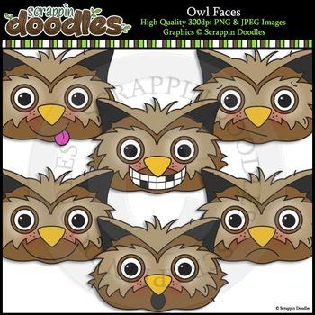 Owls Faces Clip Art & Line Art