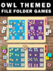 Owl File Folder Games for Math & Literacy Centers & Statio