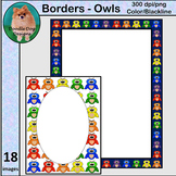 Owls: Frames, Borders and Backgrounds