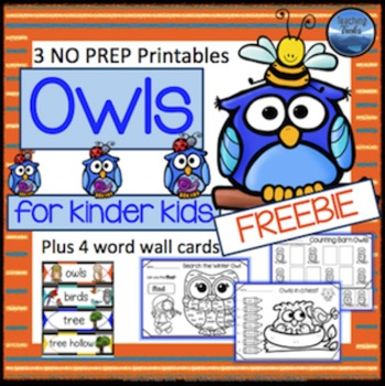 Owls Language Math Activities Free