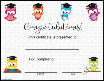 Owls Graduation Certificate