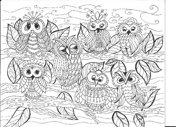 Owls In The Tree Coloring Page By Drawing Dragonflies Tpt