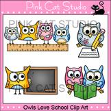 School Owls Clip Art - ruler, pencil, blackboard, reading a book