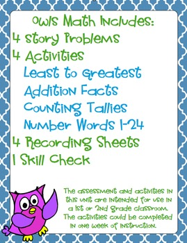 Owls Math Activities and Problem Solving