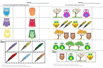 Bundles Owls NO PREP/LOW PREP Math and Literacy Centers Printables