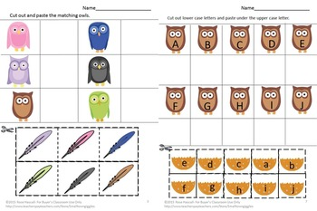 Owls, Cut Paste Activities,Cut and Paste,Special Education and Autism Resources