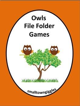 Owls File Folder  Special Education Kindergarten Early Childhood Fine Motor