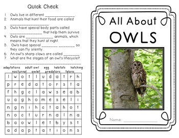 Owls - Minibook and Craftivity on adaptations, habitats and life cyle