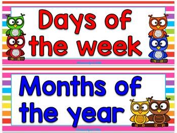 Owls Multicolor calendar set