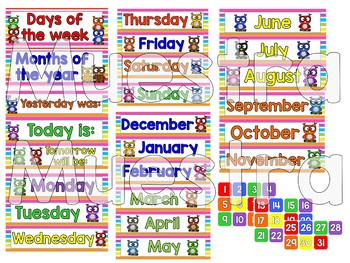 Owls Multicolor calendar set