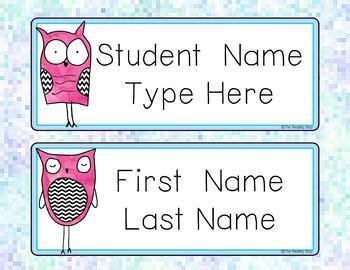 Editable Owls Name Tags for Big Kids