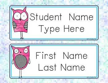 Editable Owls Name Tags