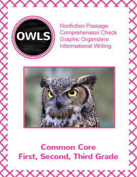 Owls: Nonfiction Text, Comprension Sheets and Informational Writing