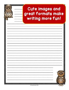 Owls Notebooking Paper - Primary Guide Lines Notebook Paper - 20 Unique Pages!