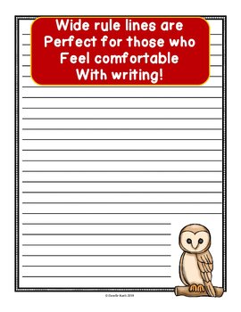 Owls Notebooking Paper with Wide Rule Lines - 20 Pages!