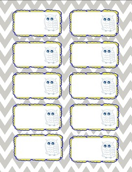 Owls Pocket Label Numbers Business Card Avery 8371