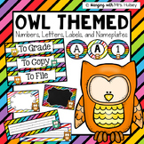 Editable Owls & Stripes (labels, numbers, letters, and nameplates)